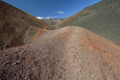 Hawaii, Maui, Haleakala, the Long Trail Through Colorful Lava Rock and Blue Sky Photographic Print