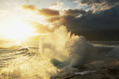 Huge Wave Crashing Against Coastal Rocks on the Portlock Coastline; Oahu Photographic Print