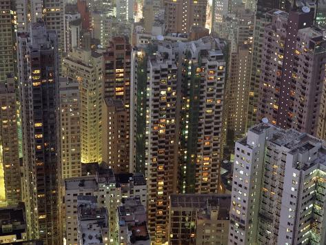 Looking Down on Crowded Residential Tower Blocks as Seen from the Peak at Dusk Photographic Print