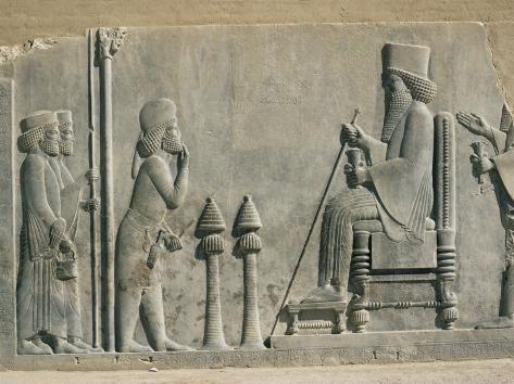 Relief of the Enthronement of Darius, Persepolis, Unesco World Heritage Site, Iran, Middle East Photographic Print