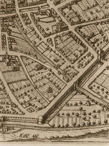 Detail from Perspective Map of City of Bologna in Vicinity of Palazzina Della Viola Giclee Print