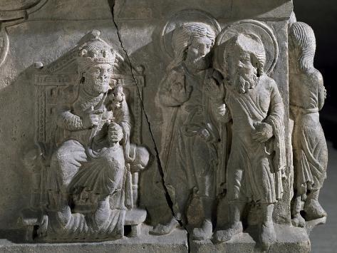 Detail from the Reliefs on the Sarcophagus of Saints Sergius and Bacchus, Early Christian Period Lámina giclée