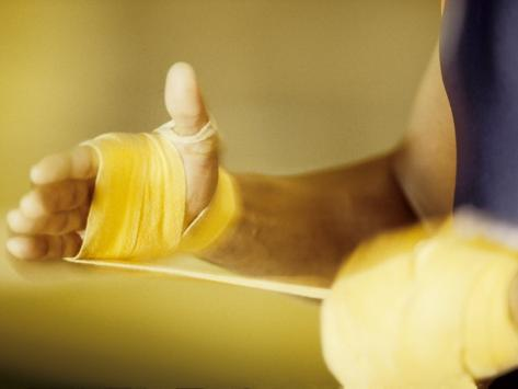 Detail of Boxer Wraping His Hands, New York, New York, USA Photographic Print