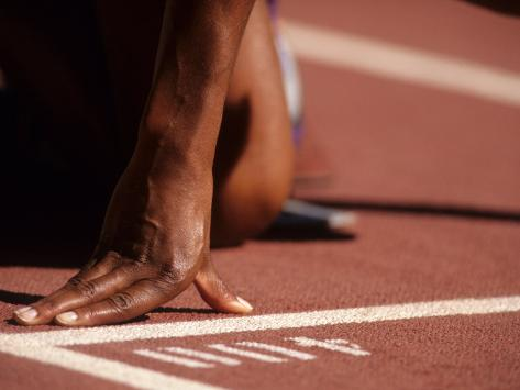Detail of Womans Hand at the Start Opf 400M Race Photographic Print