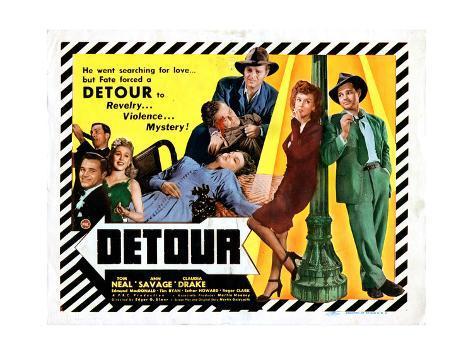 Detour, Tom Neal, Claudia Drake, Ann Savage, 1945 Giclee Print