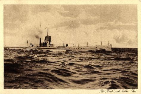 Deutsches U Boot Auf Hoher See, Aufgetaucht Giclee Print
