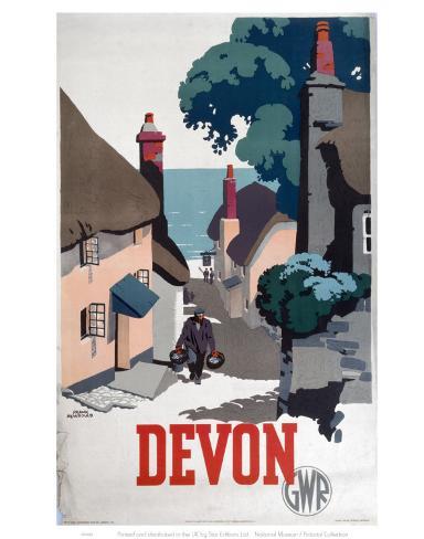 Devon GWR Old Man Walking Up Street Konstprint