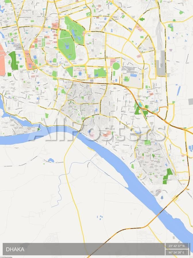 Dhaka, Bangladesh Map Print at AllPosters.com