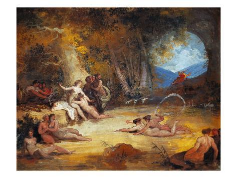 Diana and the Nymphs Bathing The Bath of Diana and the Nymphs Stretched Canvas Print