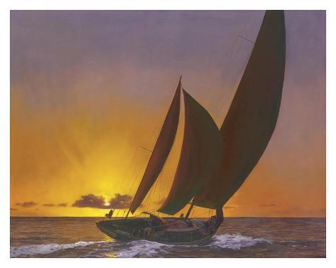 Sails in the Sunset Art Print