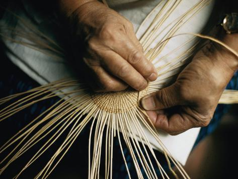 Close View of the Hands of a Hupa Indian Weaving a Basket Photographic Print