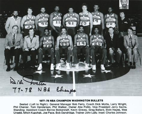 Dick Motta Washington Bullets with 77-78 NBA Champs  Autographed Photo (Hand Signed Collectable) Photo