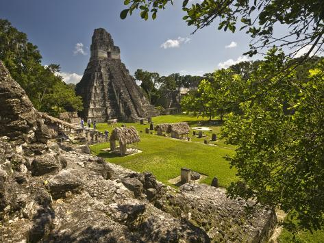 The Great Plaza at Tikal Archeological Site Photographic Print