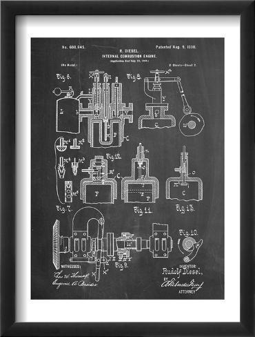 Diesel Engine Patent Framed Art Print