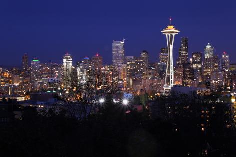 Night Cityscape, Seattle, Washington, USA Photographic Print