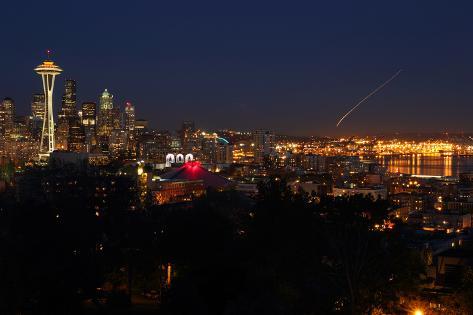 Seattle Skyline Twilight Photographic Print