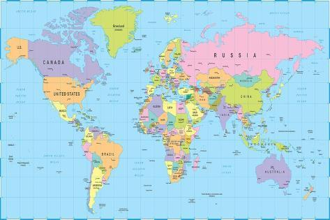 Colored World Map Borders Countries And Cities Illustration - World map poster with cities