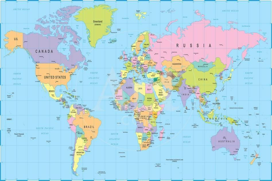 Colored World Map - Borders, Countries and Cities - Illustration ...