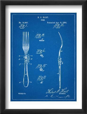 Dinner Fork Patent Framed Art Print