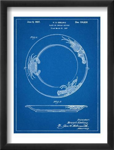 Dinner Plate Patent Framed Art Print