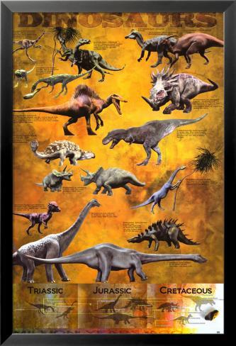 Dinosaurs Lamina Framed Poster