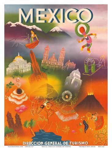 Direccion General de Turismo: Mexico, c.1950 Art Print