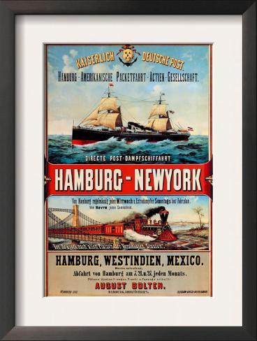 Direct Post Office Shipping Hamburg to New York Framed Art Print
