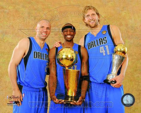 Dirk Nowitzki & Jason Kidd 2011 NBA Championship & MVP Trophies Game 6 of the 2011 NBA Finals Photo