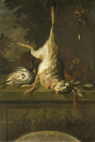 Still Life with Dead Hare and Partridges Art Print