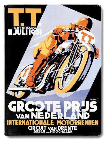 Dirt Track TT Motorcycle Racing Wood Sign