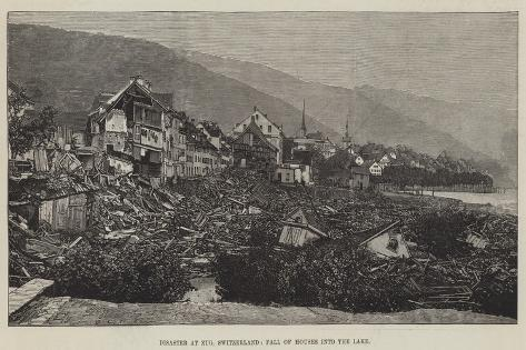 Disaster at Zug, Switzerland, Fall of Houses into the Lake Giclee Print