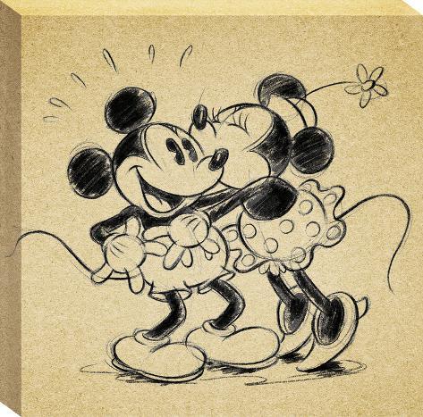 Disney Mickey & Minnie Mouse - Multi Mickey Sketch Minnie Kisses ...