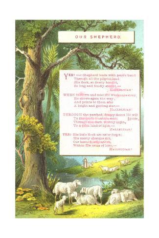 Distant Shepherd with Sheep Landscape Art Print