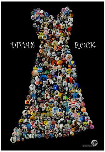 Divas Rock Buttons by Gdogs Cosmic Rock Poster Poster