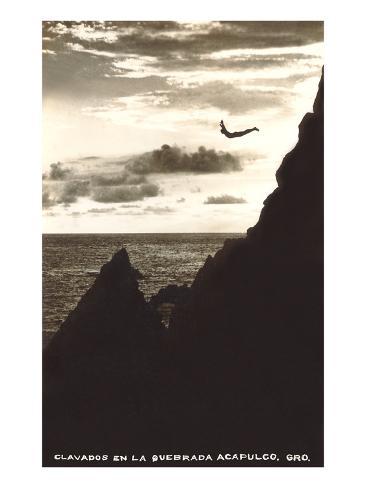 Diver at La Quebrada, Acapulco Art Print