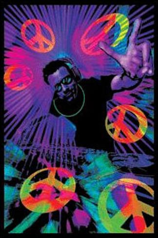 Dj peace signs blacklight poster print stampe su for Poster psichedelici