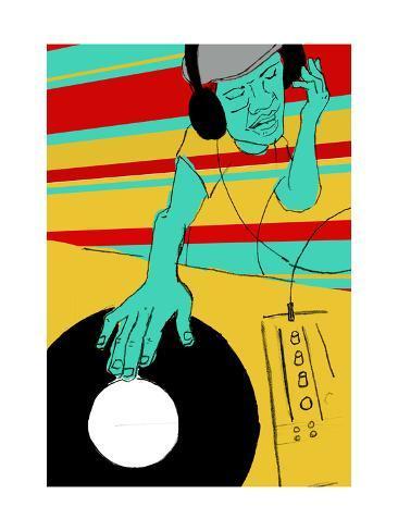 DJ Spinning Art Print