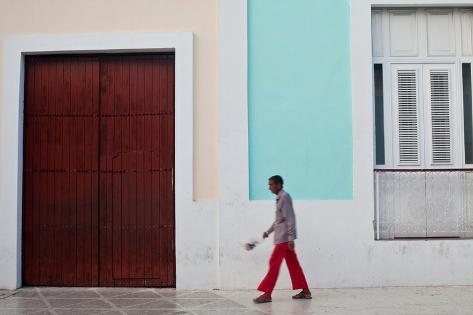 A Man Walks on El Bulevar Photographic Print