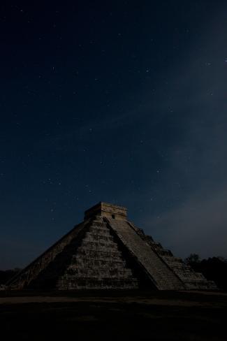 The Step Pyramid, El Castillo, at Chichen Itza Under a Star Filled Sky Photographic Print