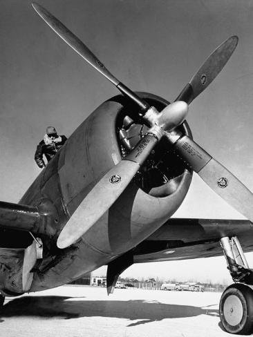 American P-47 Thunderbolt Fighter Plane and its Pilot Photographic Print