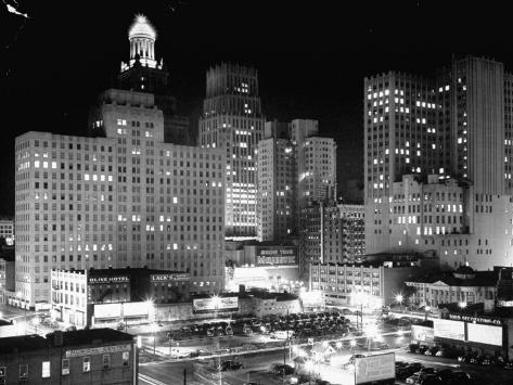 Night View of the City Houston Photographic Print