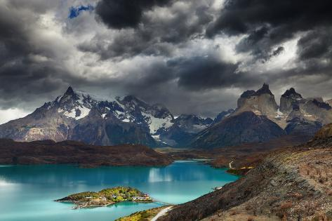 Torres Del Paine National Park, Lake Pehoe and Cuernos Mountains, Patagonia, Chile Photographic Print