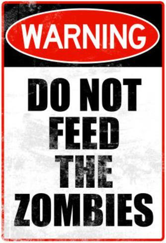 Do Not Feed the Zombies Art Poster Print Masterprint
