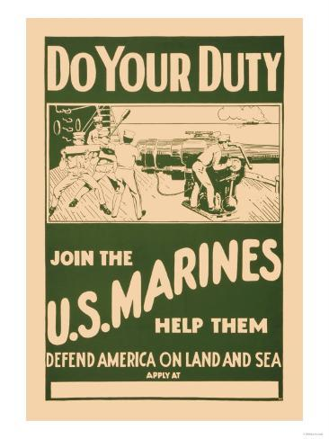 Do your Duty, Join the U.S. Marines Stampa artistica