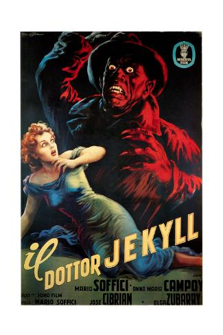 Doctor Jekyll (aka Il Dottor Jekyll), Anna Maria Campoy, Mario Soffici in Italian Poster Art, 1951 Gicléetryck