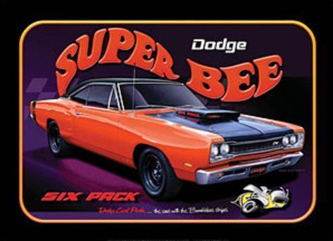 Dodge Super Bee Six Pack Car Tin Sign