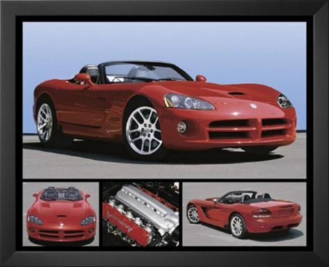 Dodge Viper (Red SRT) Art Poster Print Framed Art Print