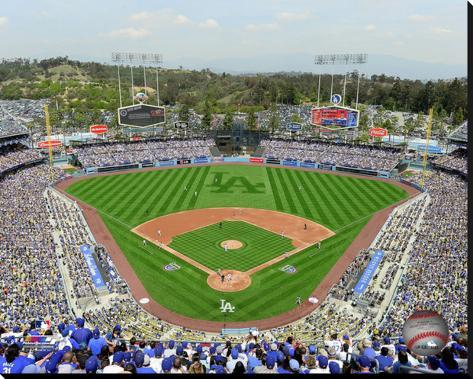 Dodger stadium stretched canvas print at for Dodger stadium wall mural