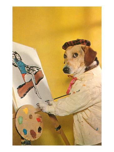 Dog at Easel, Retro Art Print