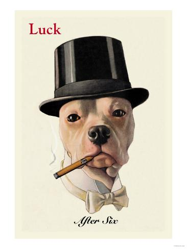 Dog in Top Hat Smoking a Cigar Art Print